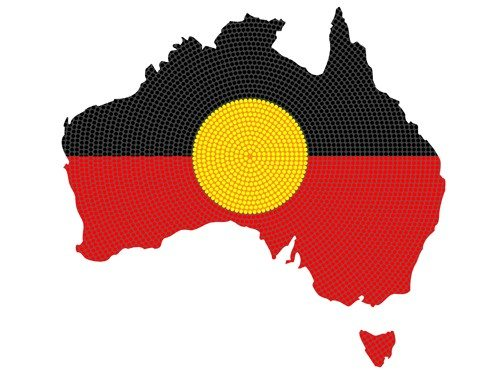 Aboriginal flag superimposed over map of Australia