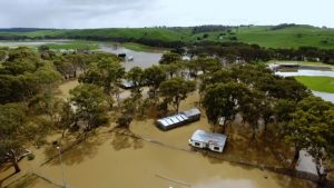 Drone shot of flooding of a rural town in Victoria, Australia.