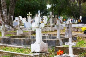 White headstones in a cemetery.